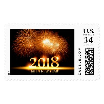 Gold 2018 Happy New Year Fireworks stamp   new years eve happy new