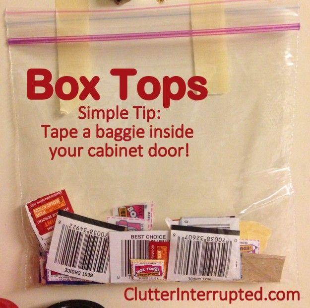 Box Top Tip ~ Tape a bag to the inside of your cupboard to store them in. | Im Kleiderschrank extra Knöpfe, Gewürze aus Tütensuppen,..