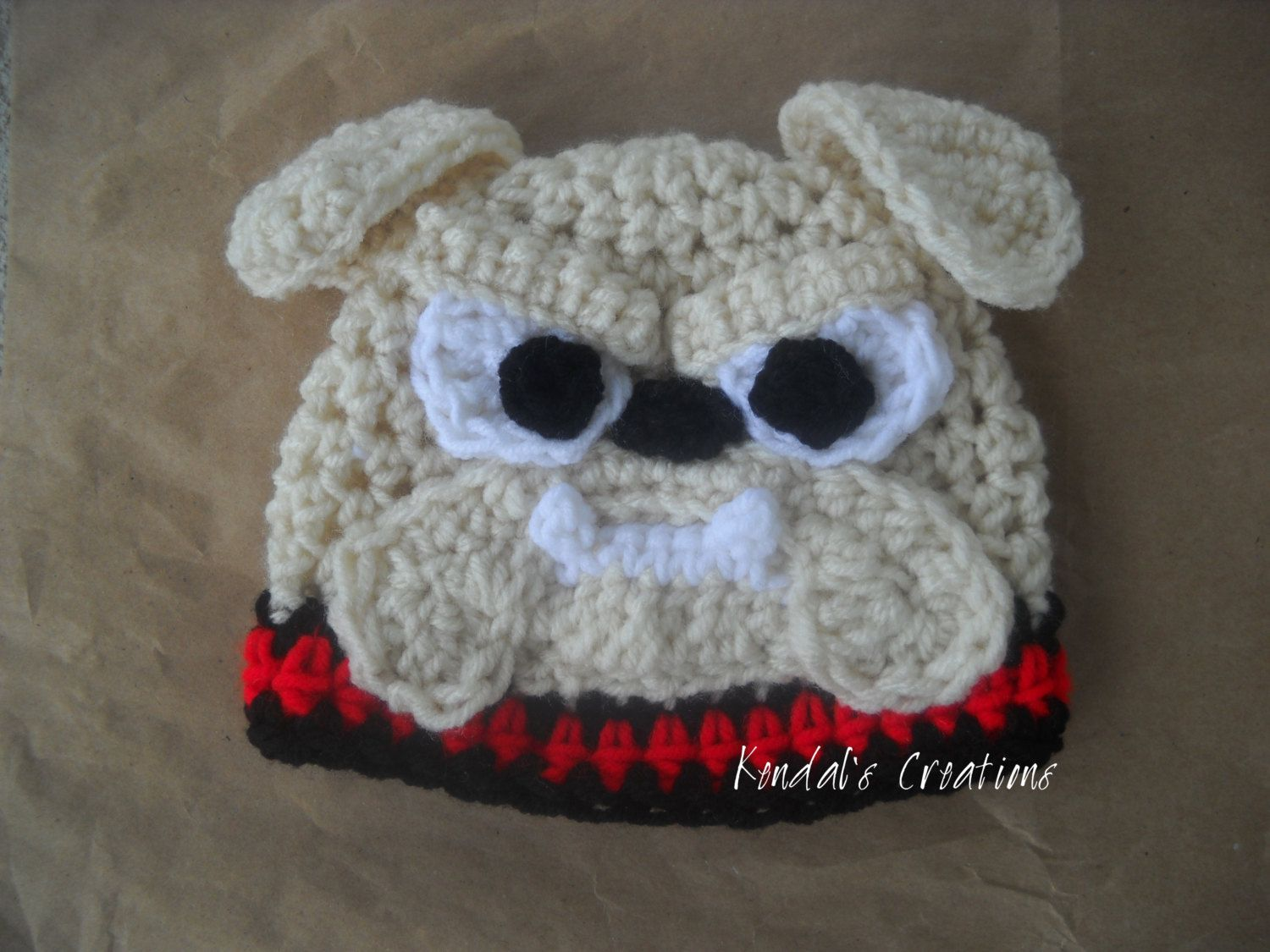 Bulldog Crochet Hat, Bow / Earflaps (Braids) Optional, Newborn to ...