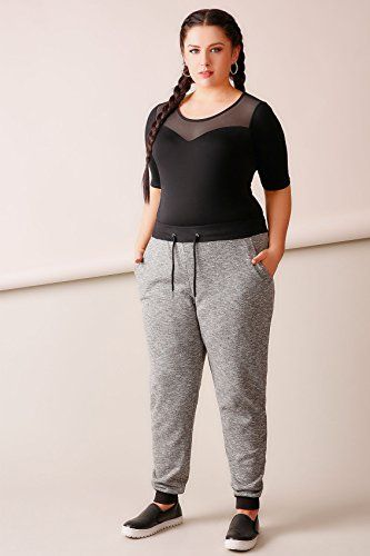 e85d08a355d British Plus Size Womens Charcoal Joggers With Black Contrast Cuff  British   UK  FashionBug  PlusSize  Pants  Capris  Curvy