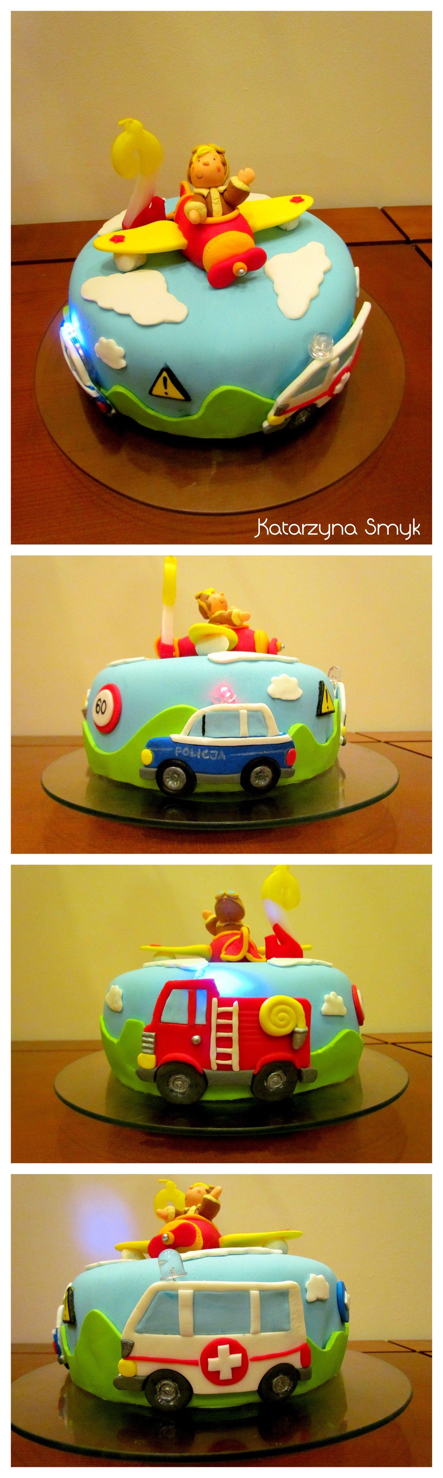 Transportation cake Fondant police car fire truck and ambulance