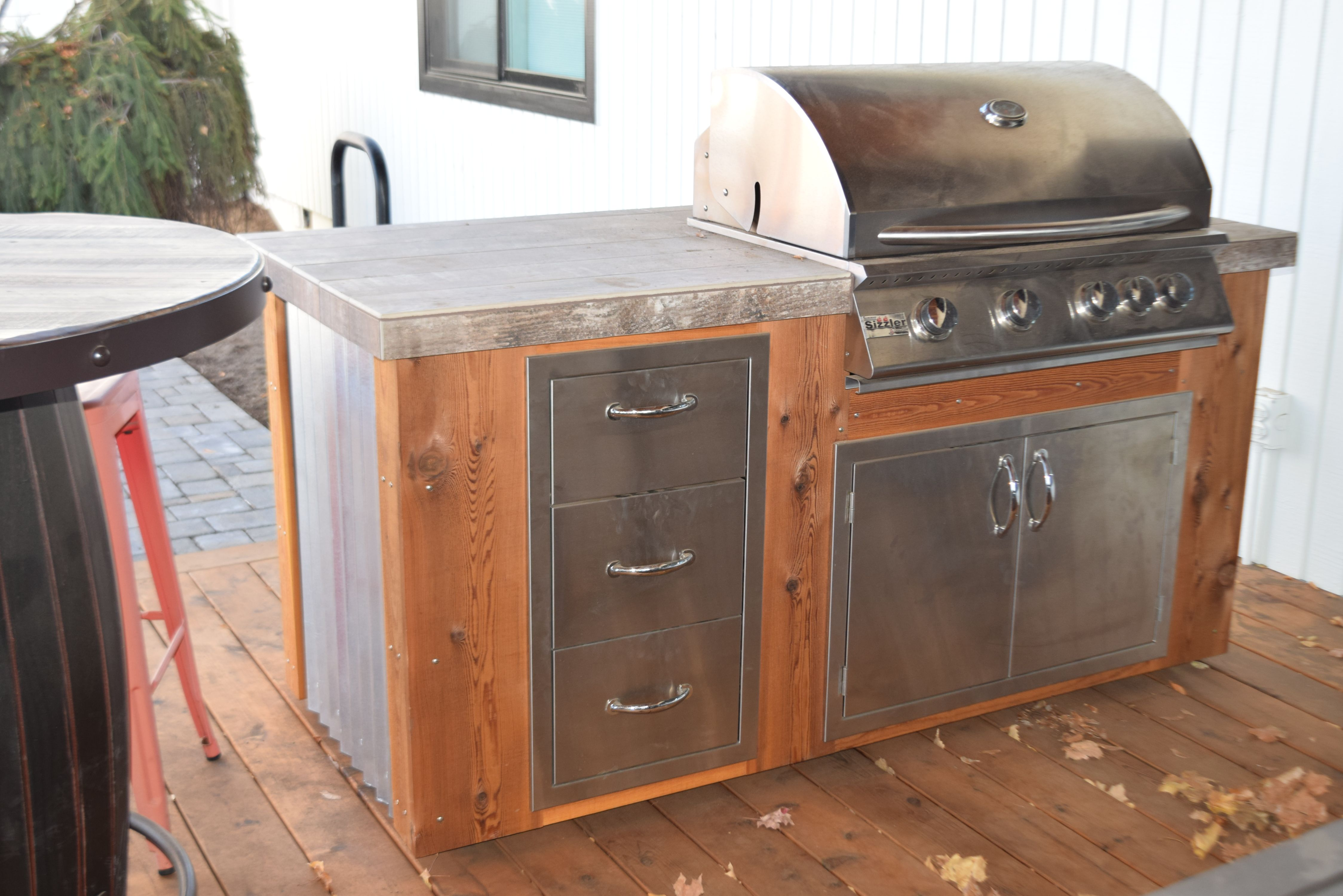 Outdoor Kitchen Corrugated Metal Wood Stainless Steel Grill