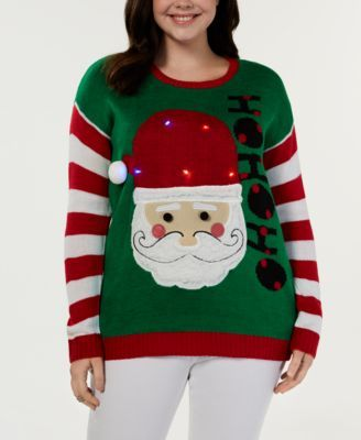 Planet Gold Trendy Plus Size Light-Up Santa Christmas Sweater - Green 3X 12e87f84f