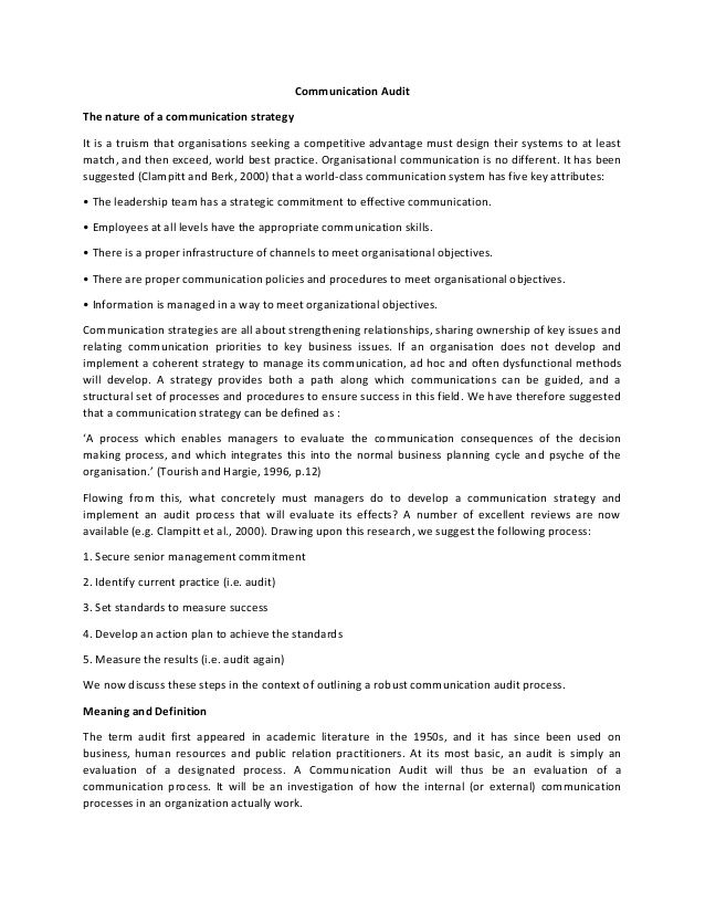 Communication Audit The Nature Of A Communication Strategy It Is A