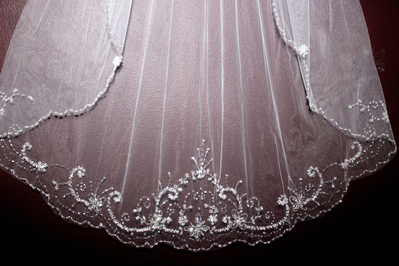 FREE SHIPPING, crystal beaded edge wedding veil, wedding