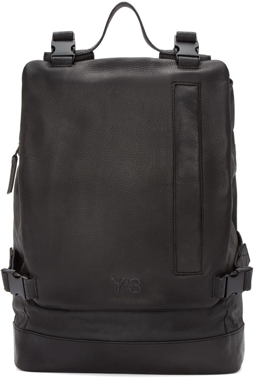 2ba75e19 Y-3: Black Leather Toile Backpack   SSENSE   Accessory Final ...