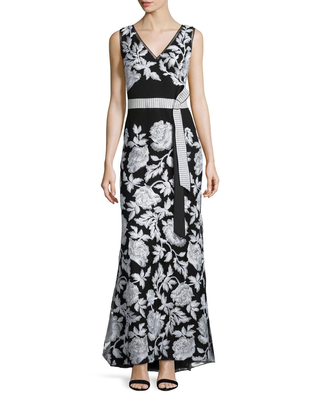 Sleeveless Belted Floral Embroidered Dress Tadashi Shoji Tadashi