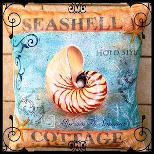 Seashell Nautilus su cuscino in cotone