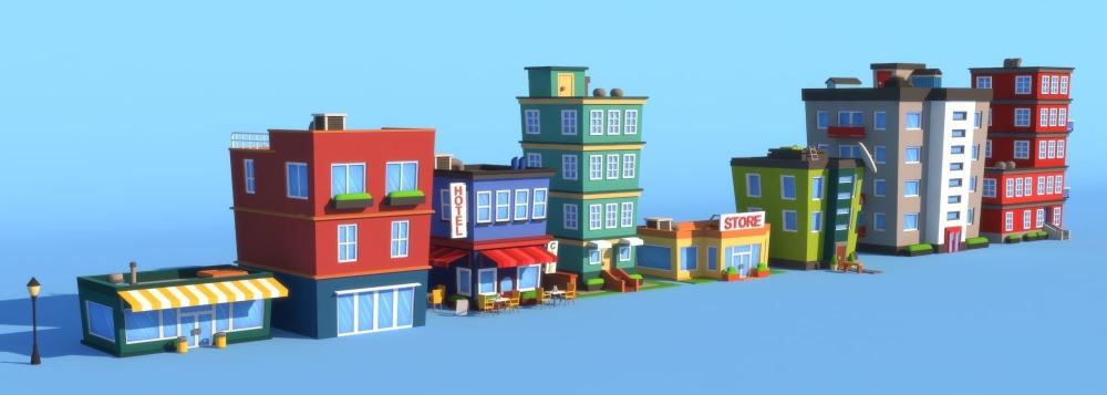 Cartoon Buildings 3d Model Cartoon Building City Cartoon Building