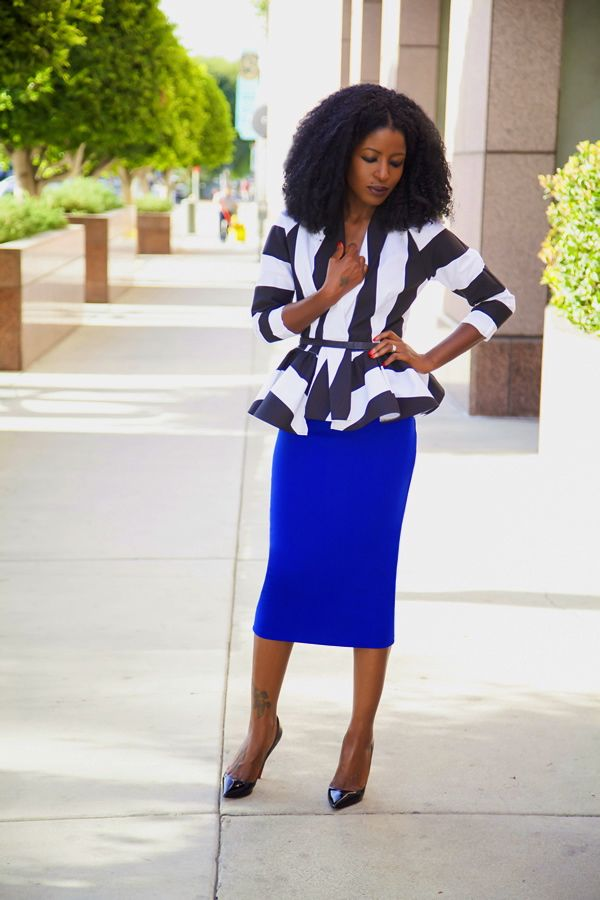 6559833c64 Style Pantry | Striped Wrap Jacket + Pencil Midi Skirt. Royal blue and black /white