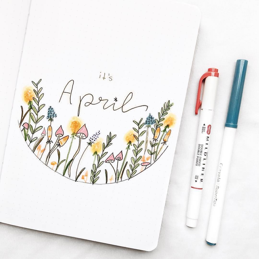 "NotebookTherapy.com | bujo � on Instagram: ""Such pretty flowers on this April cover by @by.desi �� spring is officially here! #notebooktherapy - Shop dotted notebooks, mildliners,…"""
