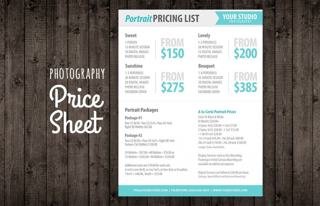 Photography Price Sheet  Modern Photography Price List Template