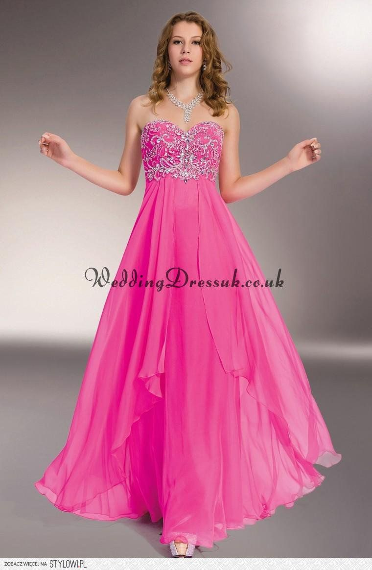 Formal pink dresses for women  skirt chiffon sweetheart layered beading prom dress  hu na Stylowi