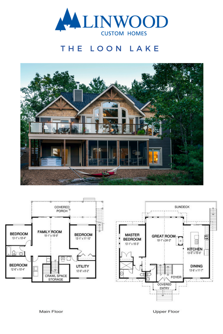 A Main Floor Master Suite Plus 3 Additional Bedrooms Upstairs Makes The Loon Lake Home Package The Perfect Fam Cottage Floor Plans House Blueprints House Plans