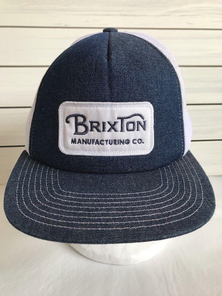 c058d9647 Brixton Manufacturing Co Denim Mesh Trucker Hat Patch Snapback ...