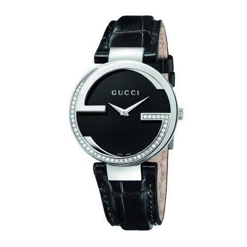 ab9642379ba Gucci Women s YA133305 Interlocking Black Crocodile Steel and Diamond Watch  Gucci