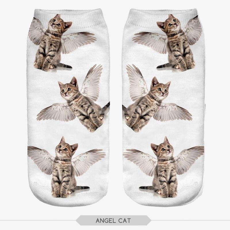 3D Angel Cat Socks Unisex Low Cut Ankle Socks