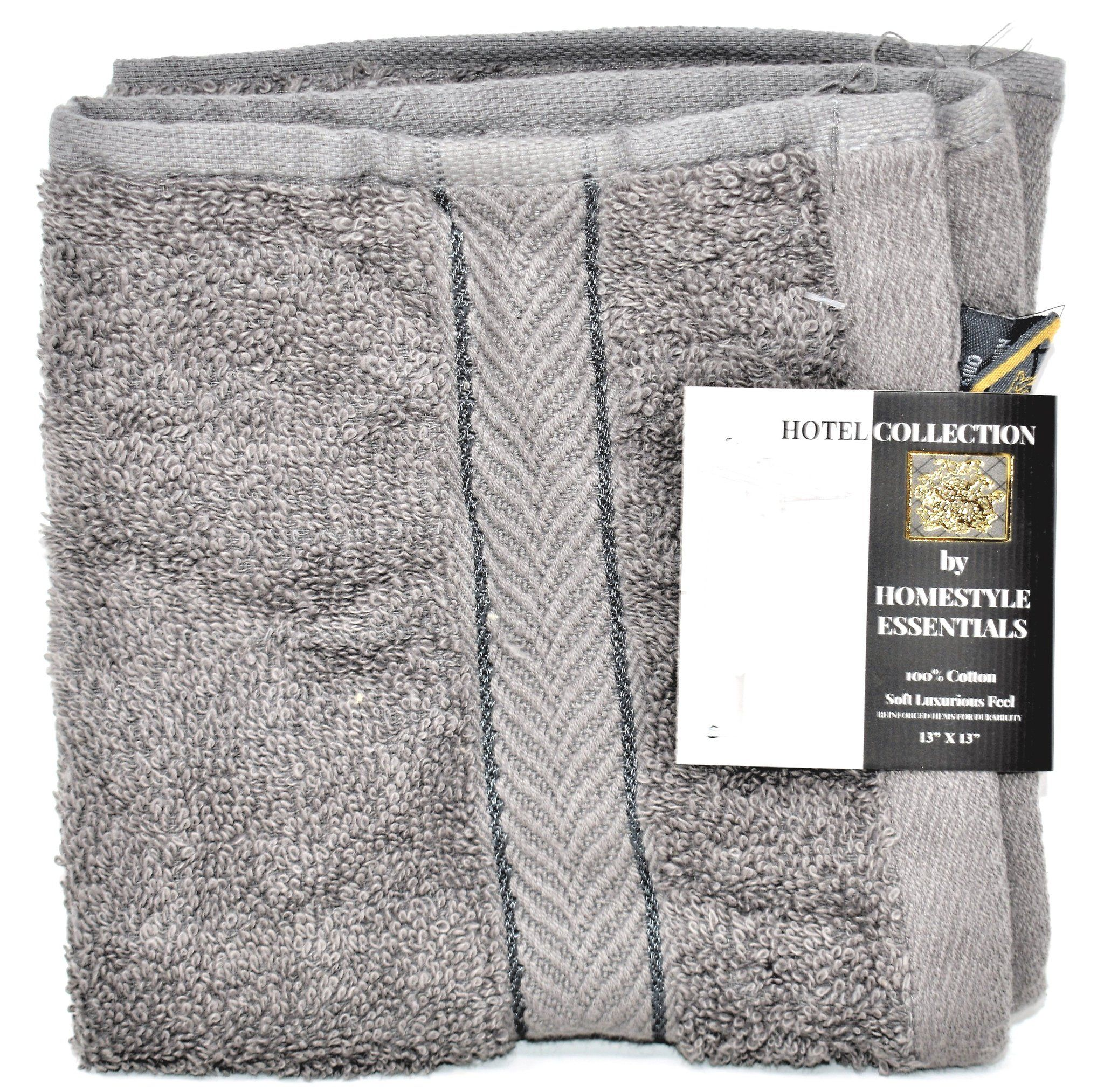 """Hotel Collection by Homestyle Essentials 13/"""" x 13/"""" Wash Cloth Taupe Color"""