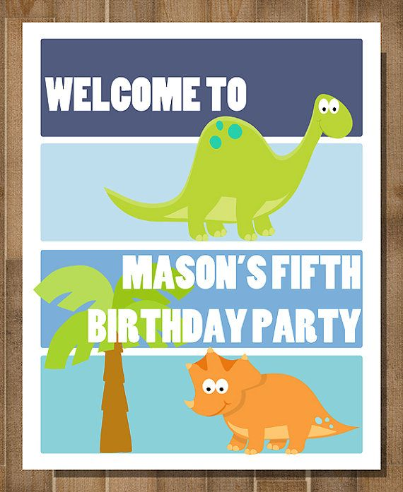 PRINTABLE DINOSAUR Birthday Party Welcome Sign Dino Mite CUSTOM