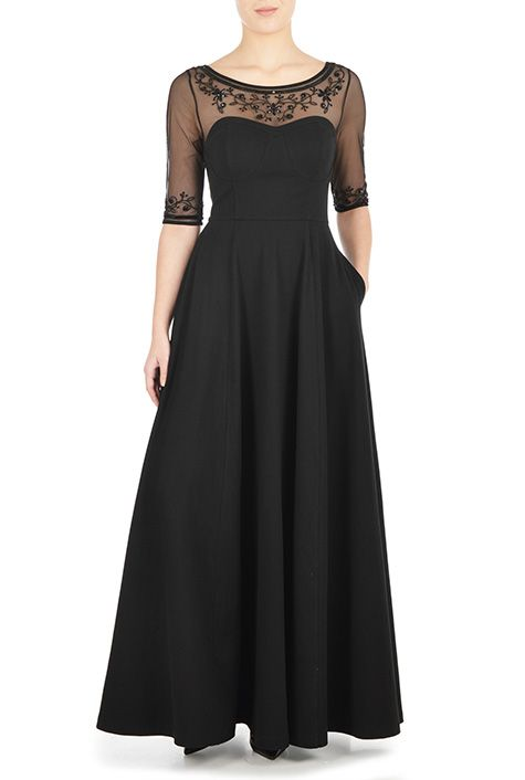 Illusion yoke corset style jersey dress from eShakti.