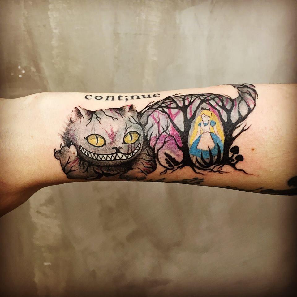 alice in wonderland - tattoo anansi #cat #cattattoo #