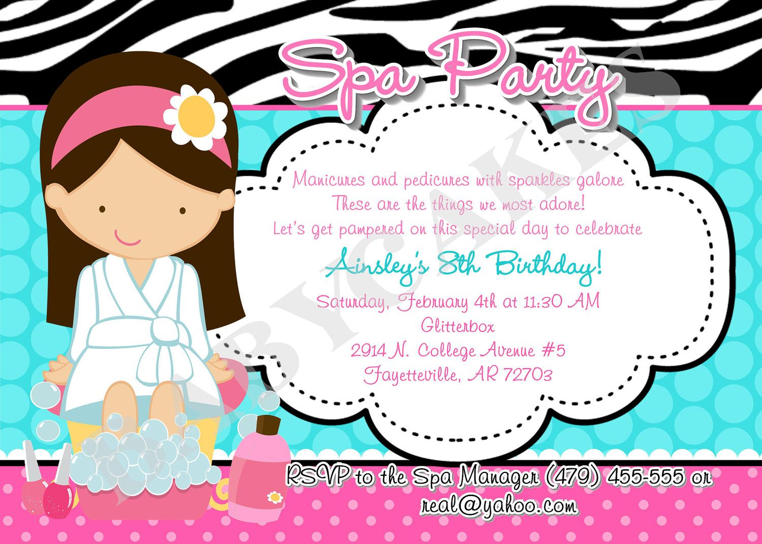 Spa Party Birthday Party Invitation Printable Digital File – Printable Spa Party Invitations