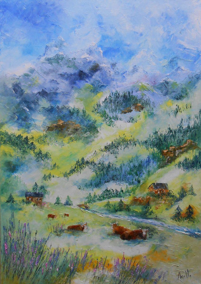 Tableau haute montagne huile au couteau sur toile peintures par peintures axelle bosler - Peinture au couteau huile ...