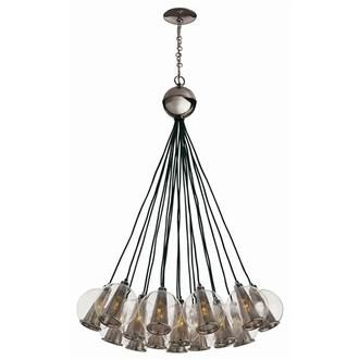 Caviar Nickel and Smoke Glass Bouqet Chandelier