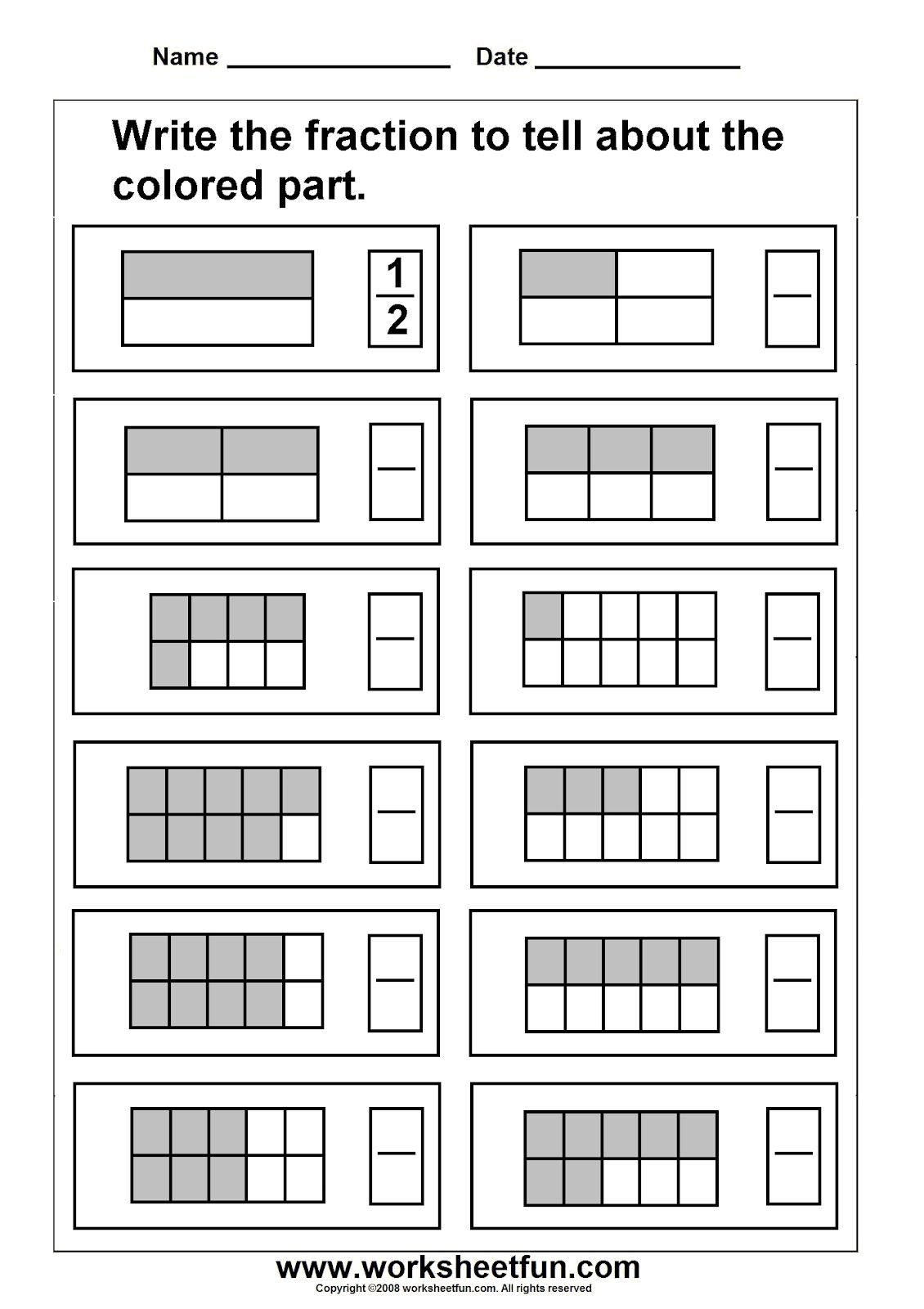 4 Worksheets Grade 3 Fractions P Pixels With