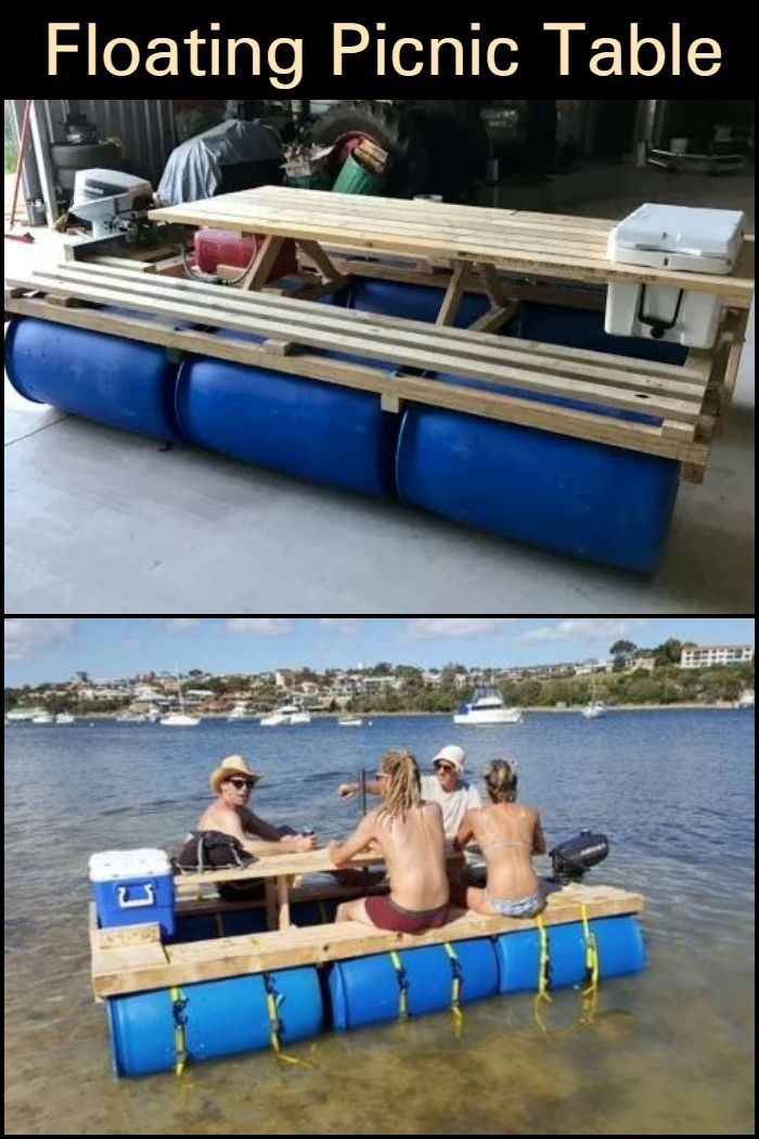 Enjoy Some Quality Time At The Lake By Building This Floating Picnic Table With Images Floating Picnic Table Diy Picnic Table Picnic Table