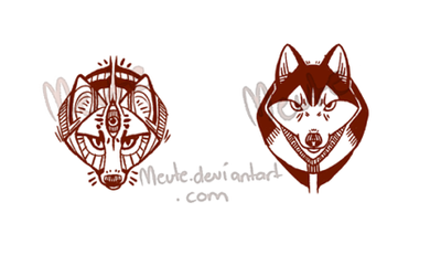 Tribal Designs - fox and husky by =Meute on deviantART