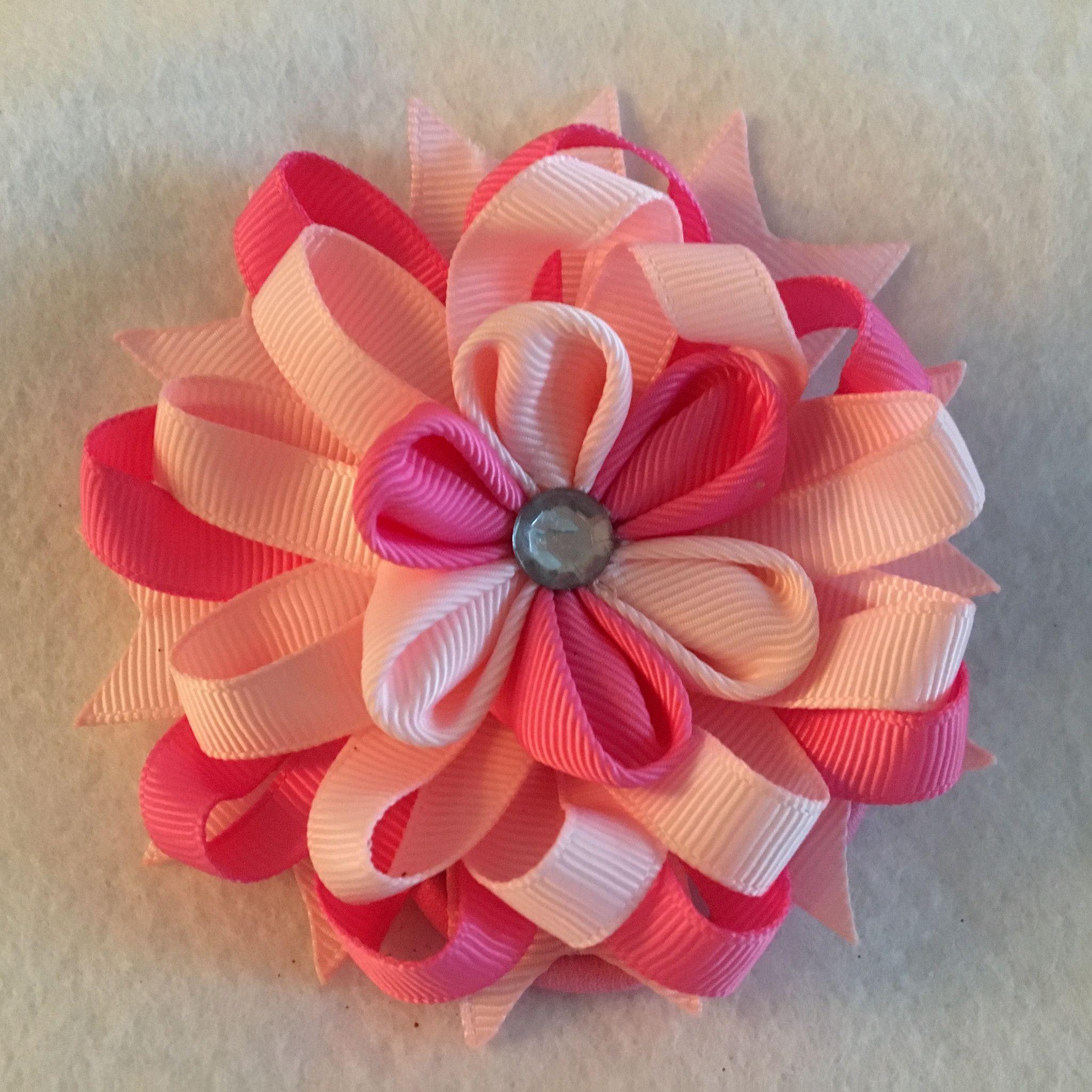 Stacked Flower, Ribbon Flower, Ponytail Holder, Flower Ponytail Holder, Stacked Flower Ponytail Holder, Kanzashi Flower