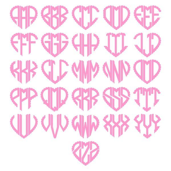 Heart scalloped monogram font cuttable design cut file