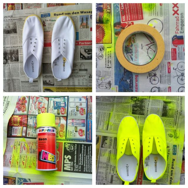 easy peasy, lemon squeezy diy neon shoes    what you need:   1.white canvas plimsoles  2. acrylic lacquer in neon lemon yellow    3.tape  /   how to do:   1.tape the parts that you don't want to be painted.  2.then take your colour and spray it all over your shoes.   3.let it dry until you can touch it without getting dirty hands.   4.gently remove the tape.  5.finally let them dry completly. READY!