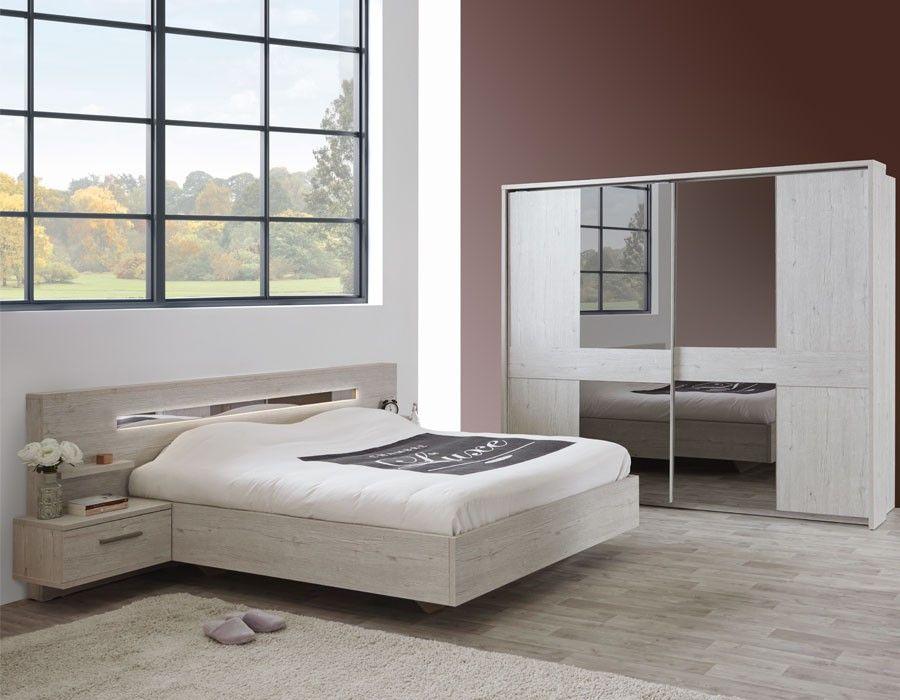 Chambre contemporaine couleur bois blanc DIANE Chambre adulte
