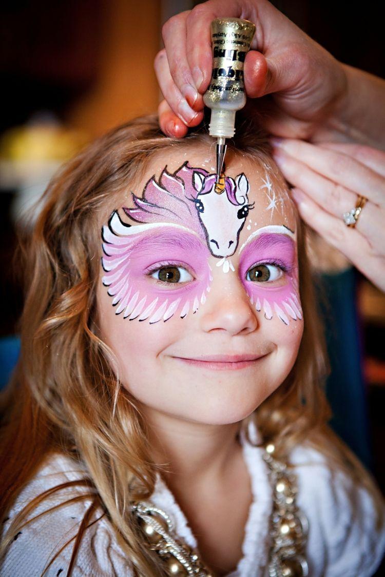 Einhorn Fabelwesen Gesichtsbemalung Stirnpartie Augen Kinder Schminken Kinderschminken Einhorn Schminken Kinder Einfach