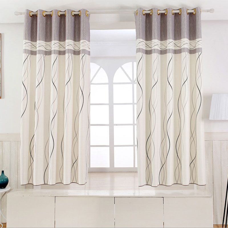 1 Panel Short Curtains Window Decoration Modern Kitchen Drapes Striped  Pattern Children Bedroom Curtains (Color