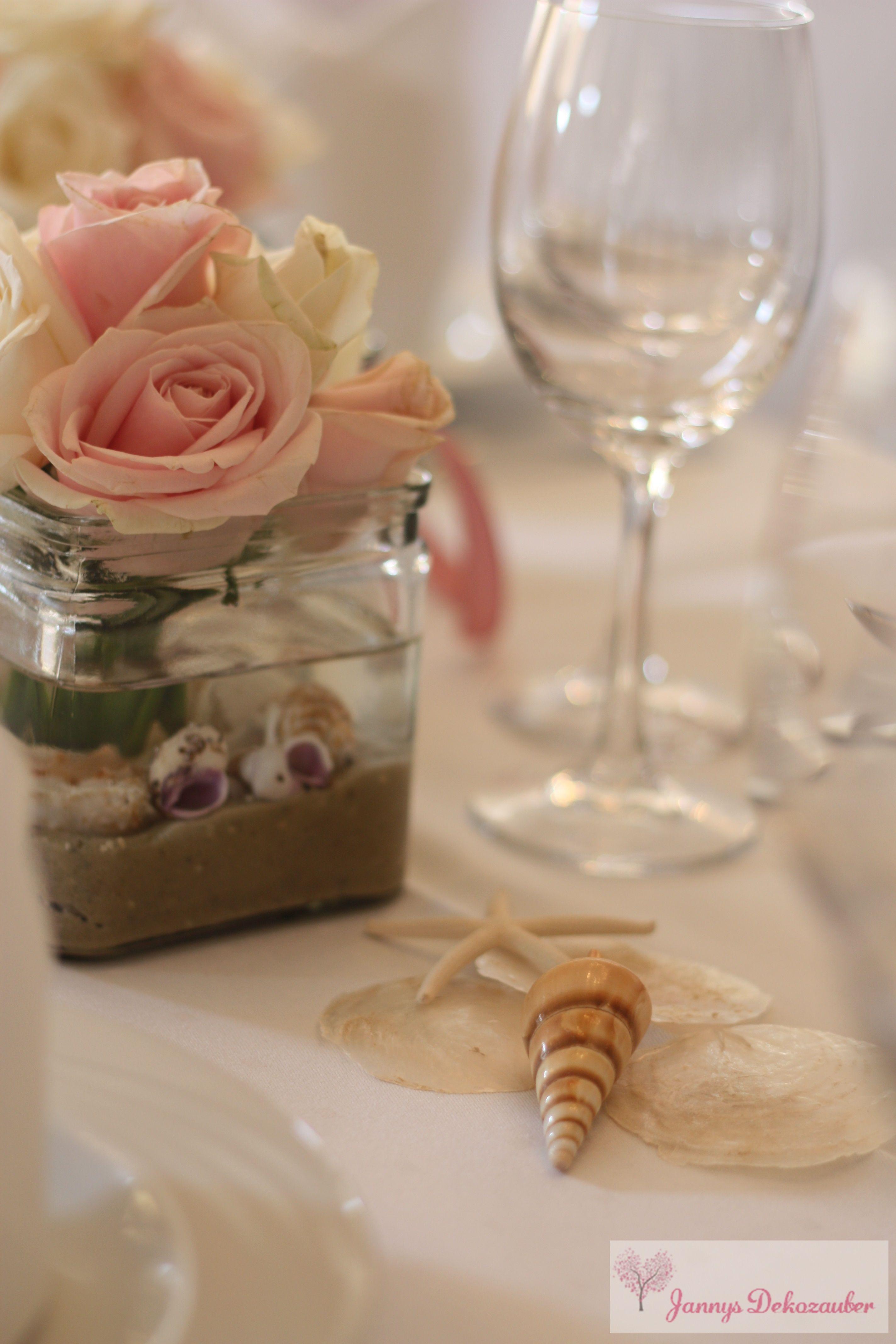 Tischdeko Hochzeit Hochzeitsdeko Maritim Rosa Muscheln Seensterne