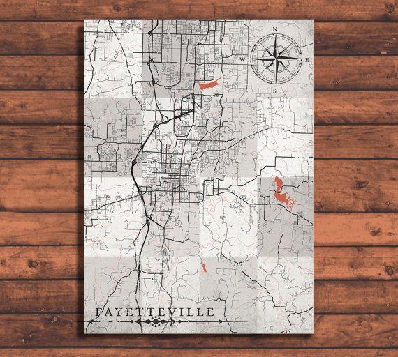 FAYETTEVILLE AR Canvas Print Arkansas Vintage map Town Plan City ...