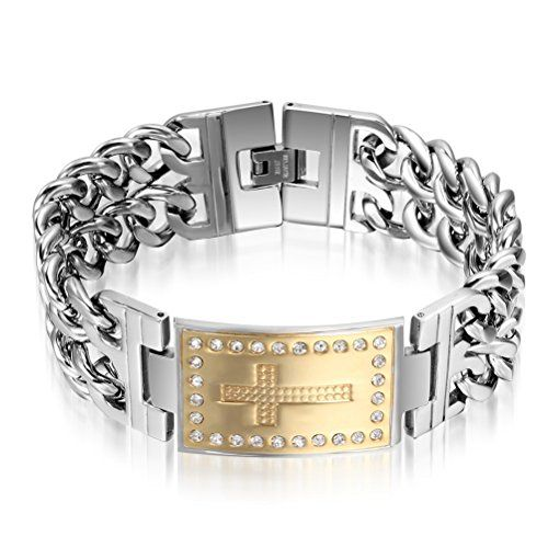Mens Heavy Stainless Steel Rhinestone Cross Bracelet Link Chain For Religious Gold Silver Find Out Men Bracelets Pinterest