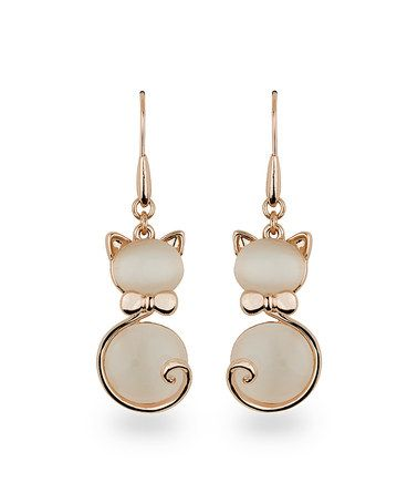 Another great find on #zulily! Rose Gold & Cat's Eye Feline Drop Earrings #zulilyfinds