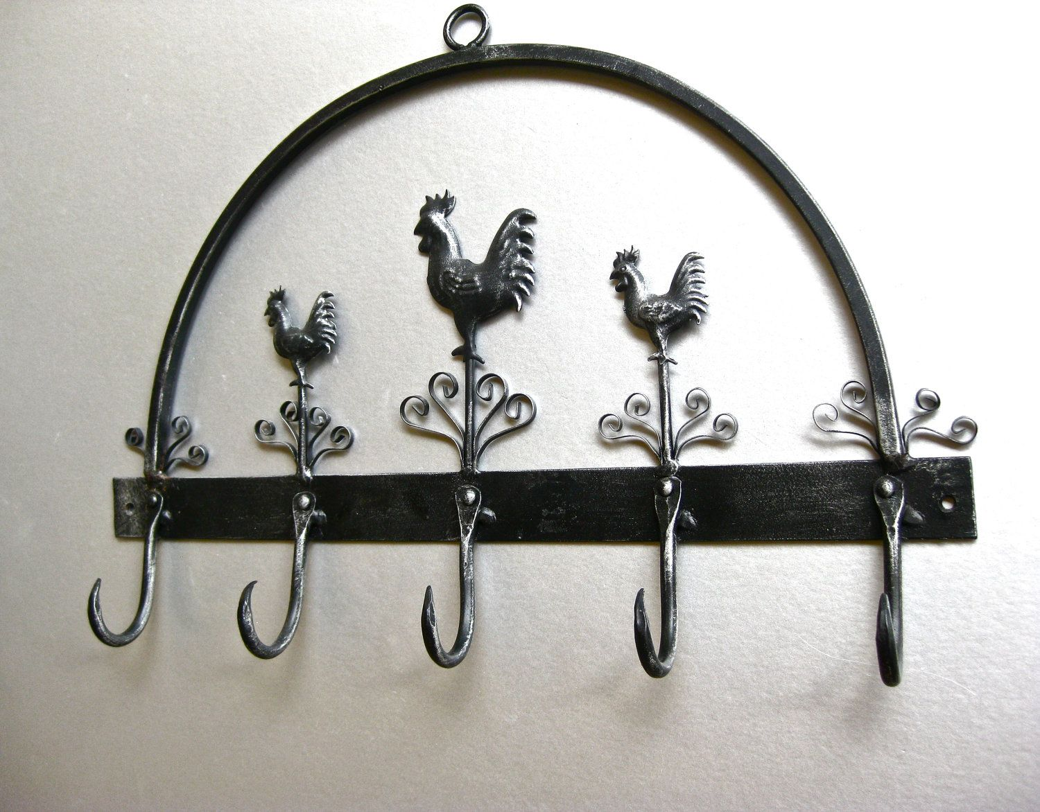 Wall Mounted Rooster Hanging Iron Towel Kitchen Combine White Wall ...