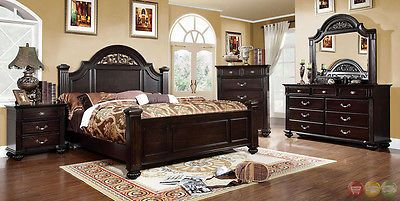 Bedding: Syracuse Traditional Dark Walnut King Poster Bed 3 Piece Bedroom Furniture Set BUY IT NOW ONLY: $1250.0
