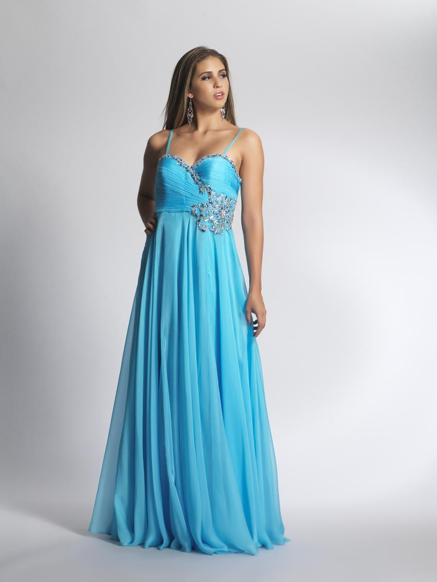 Spaghetti Strap Beaded Chiffon Blue Prom Gowns | Prom Dresses ...