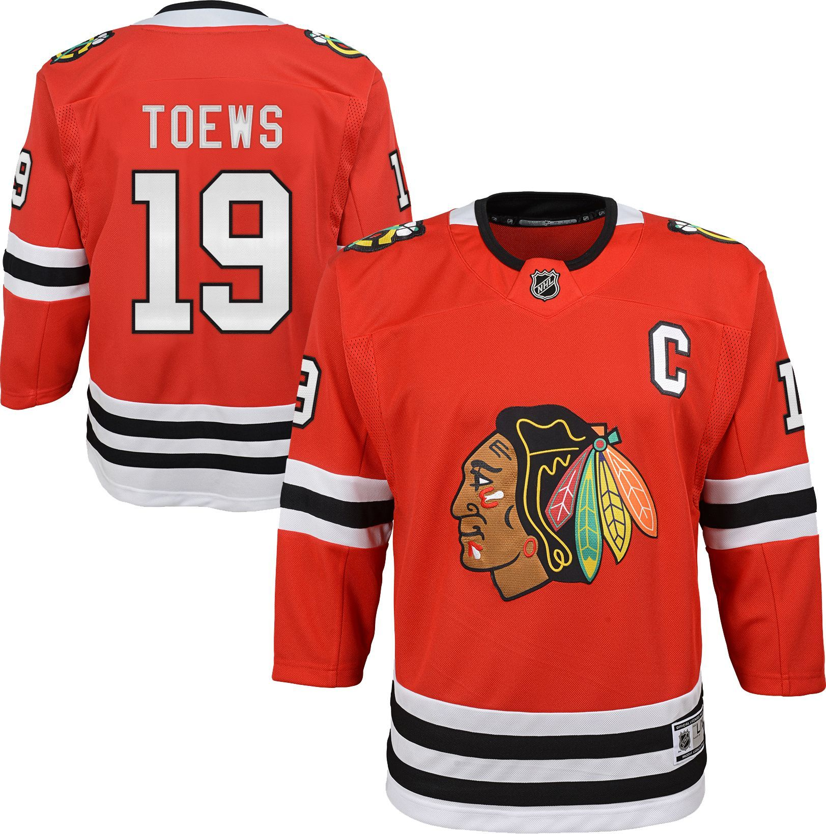 ade7c2a21 NHL Youth Chicago Blackhawks Jonathan Toews #19 Premier Home Jersey, Size:  L/XL, Team