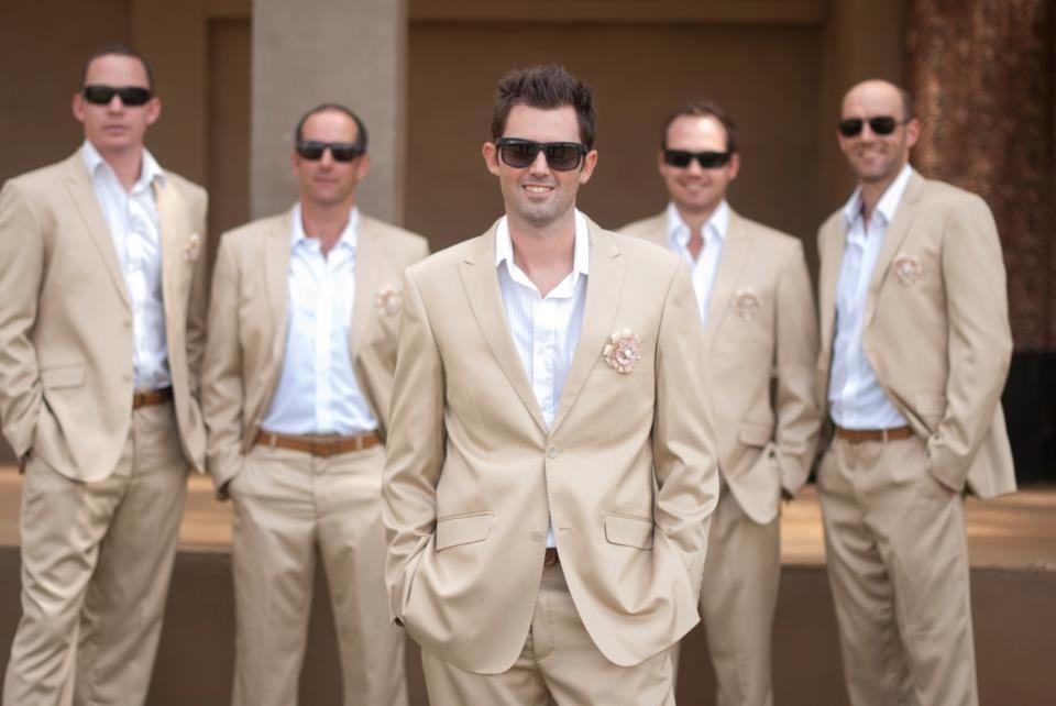 Groom & groomsman in golden beige suits   Lovely wedding things ...