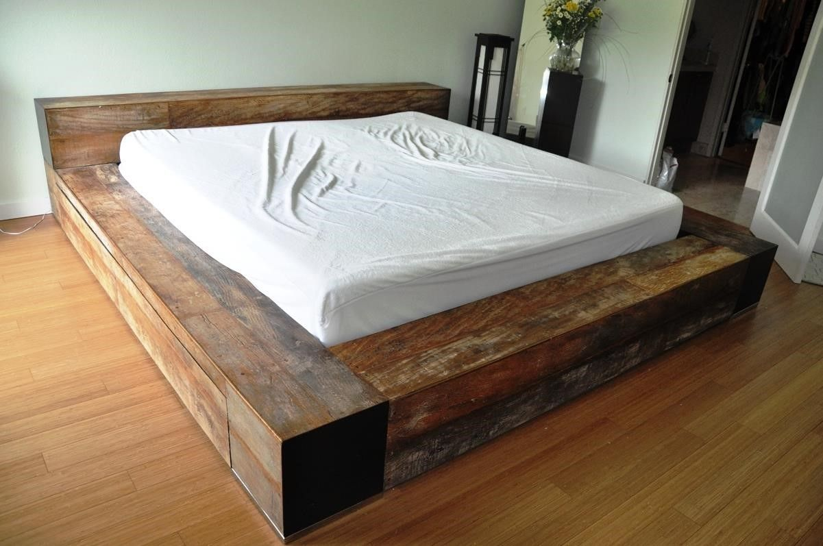 homemade wood platform bed bed design pinterest. Black Bedroom Furniture Sets. Home Design Ideas