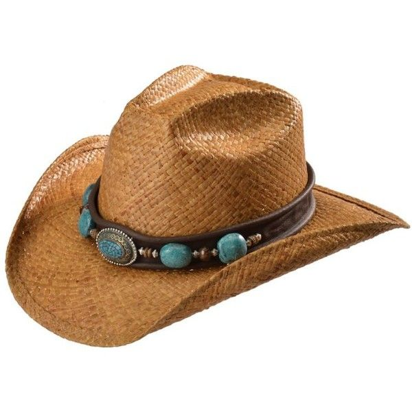 d4bd95d8583 Shady Brady Crushable Straw with Berber Bead Band Cowboy Hat ( 110) ❤ liked  on Polyvore featuring accessories