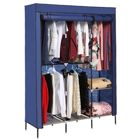 68 Inch Portable Closet Storage Organizer Wardrobe Clothes Rack With Shelves Brown Portable Wardrobe Closet Wardrobe Shoe Rack Portable Closet