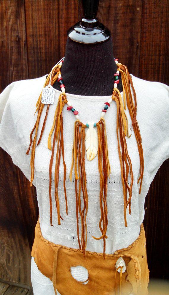 Buckskin Turquoise & Coral Fringe Feather Bone by SpiritMedicines
